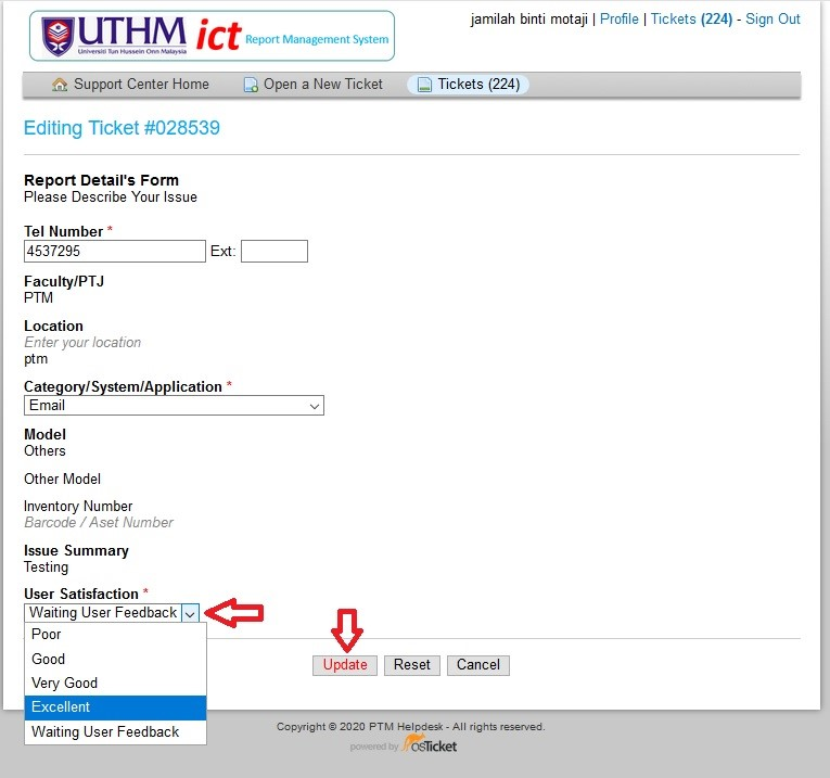aduanict ptm user satisfaction choose rating